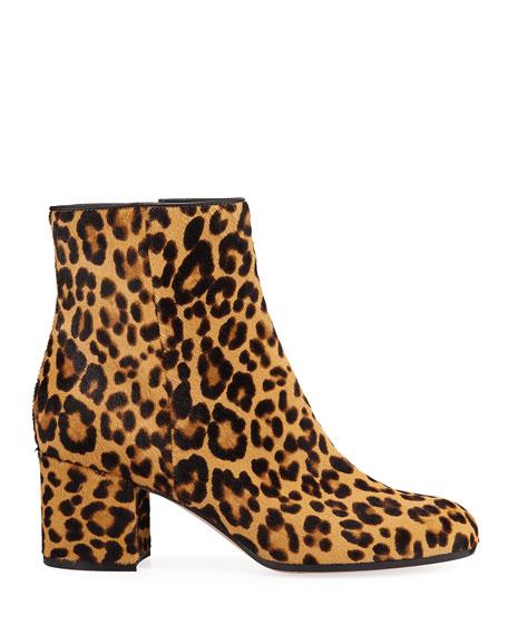 Leopard-Print Calf Hair Booties