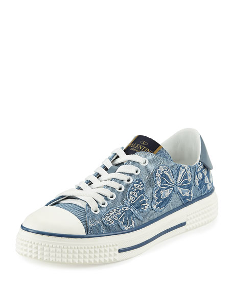 Butterfly-Embroidered Denim Sneaker, Light Denim