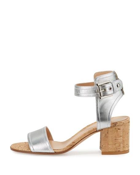 Rikki Low Metallic 60mm Chunky-Heel Sandal, Silver