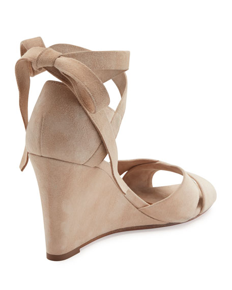 65c34546fa1 Aquazzura Tarzan Suede Ankle-Wrap Wedge Sandal