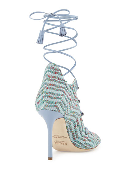 Savannah Woven Lace-Up Pump, Green/Dusty Blue