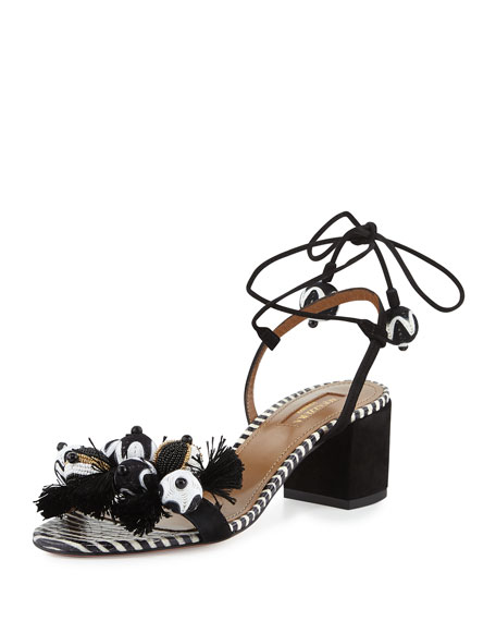 Aquazzura Tropicana Beaded 50mm Sandal, Black Pattern