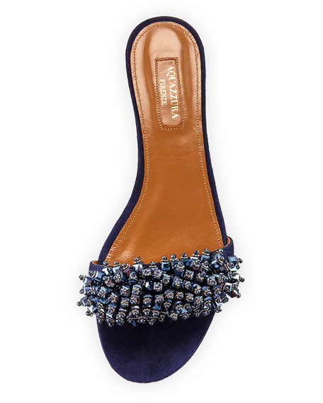 Monaco Beaded Sandal Slide, Navy
