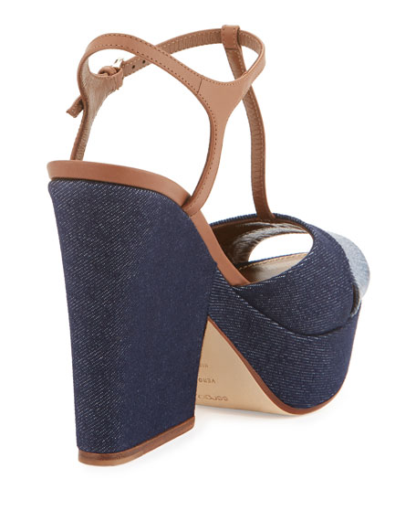 Edwige Denim T-Strap Wedge Sandal, Blue