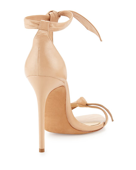 Bow-Tie Leather Sandal, Nude