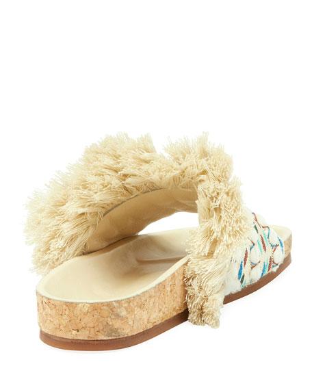 Fringe Cork Slide Sandal