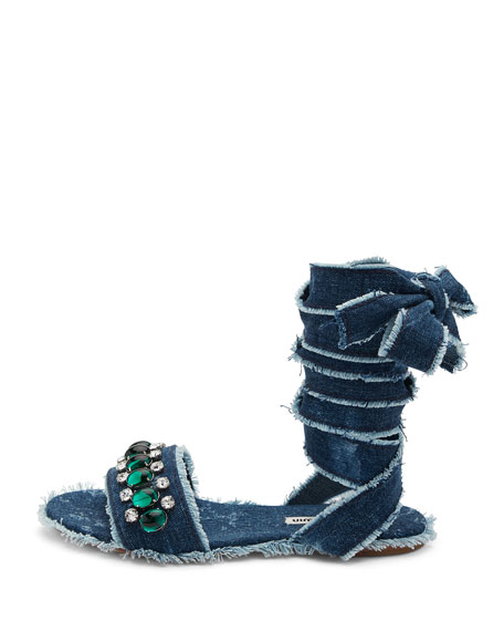 Jeweled Denim Lace-Up Sandal