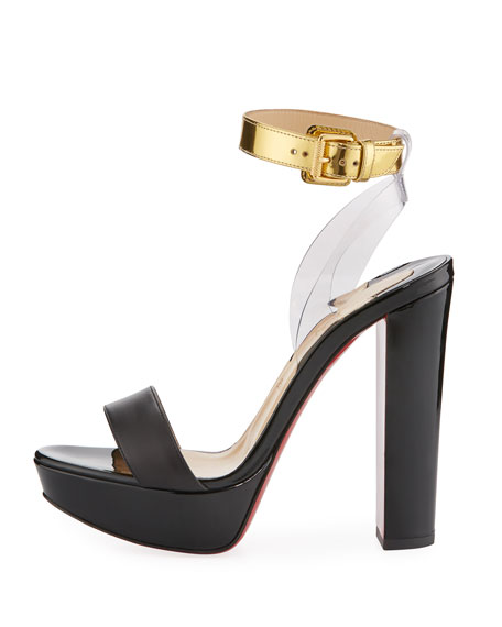 Patent Leather Red Sole Sandal, Black