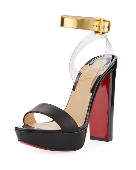 Christian Louboutin Patent Leather Red Sole Sandal, Black