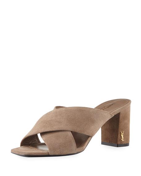 Saint Laurent Suede Crisscross Block-Heel Mule Sandal