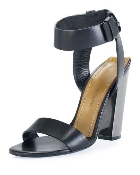 Leather Ankle-Strap 105mm Sandal, Black