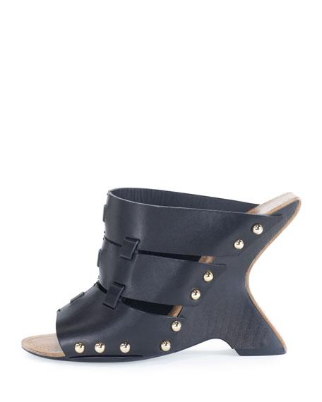 Leather Curve-Heel Clog Slide, Black