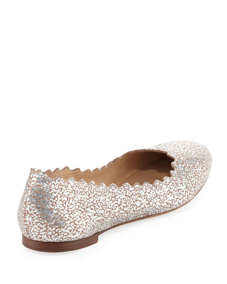 fadf0cc7ee25 Chloe Lauren Scalloped Metallic Leather Ballet Flats