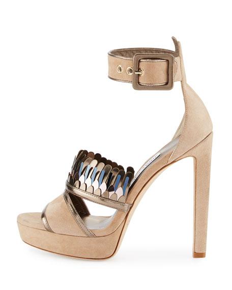 Kathleen Suede Ankle-Wrap Sandal, Beige
