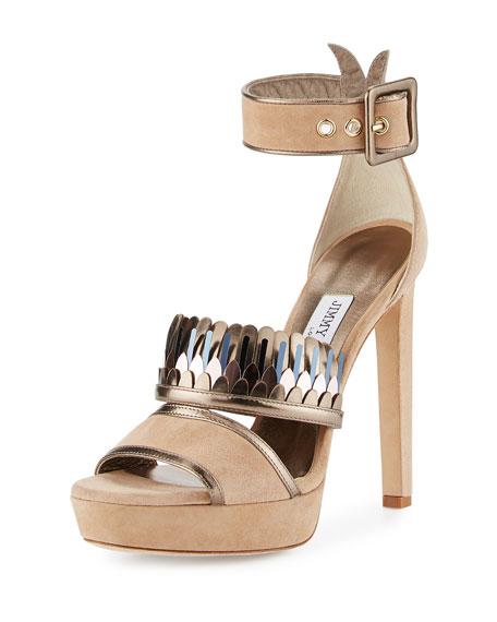 Jimmy Choo Kathleen Suede Ankle-Wrap Sandal, Beige