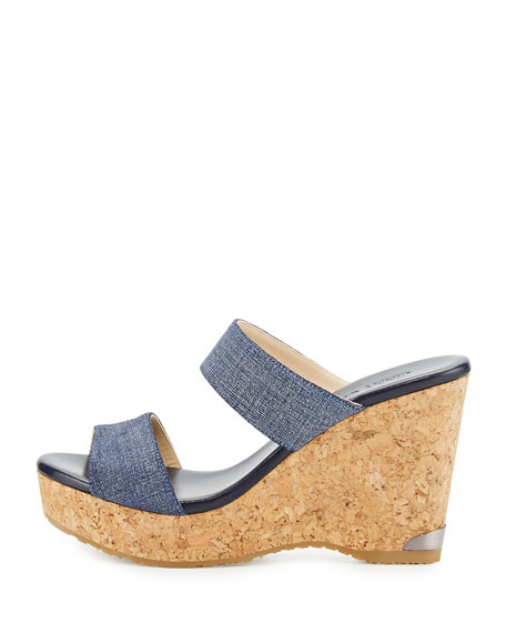 Parker Printed Two-Band Wedge Sandal, Blue