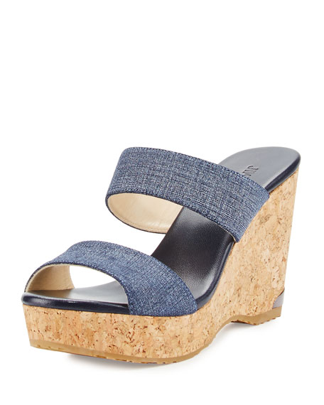 Jimmy Choo Parker Printed Two-Band Wedge Sandal, Blue