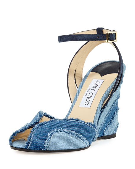 Jimmy Choo Damon Denim 100mm Wedge Sandal, Light