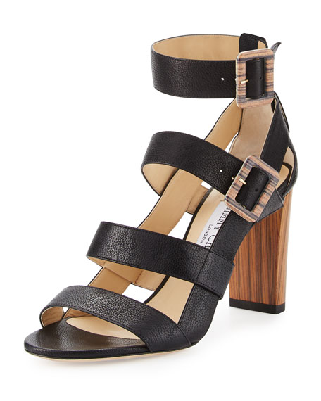 Jimmy Choo Maya Leather 85mm Sandal, Black