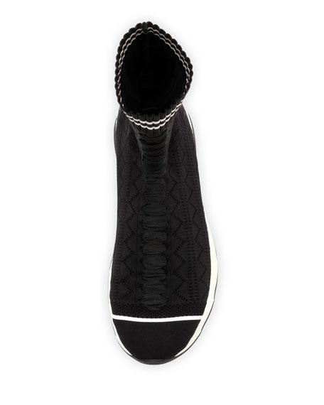 Zigzag-Knit Sock Sneaker, Black/White