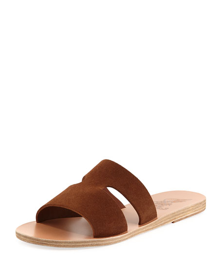 Image 1 of 1: Apteros Double-Band Flat Slide Sandals, Tobacco