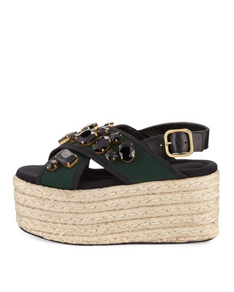 60mm Jeweled Espadrille Flatform Sandal, Spherical Green