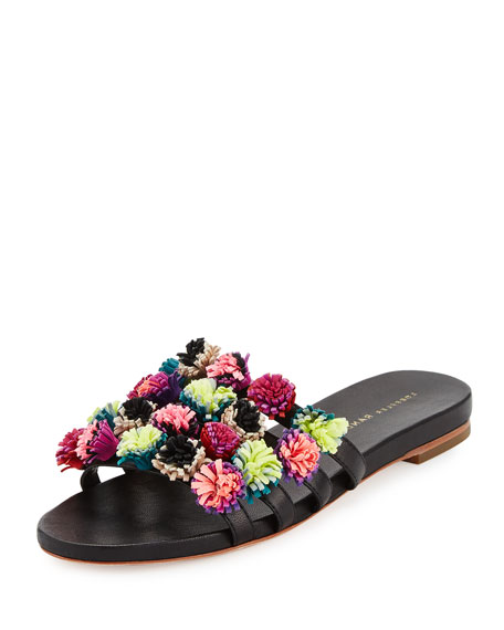 Sal Pompom Caged Slide Sandal, Black/Multi