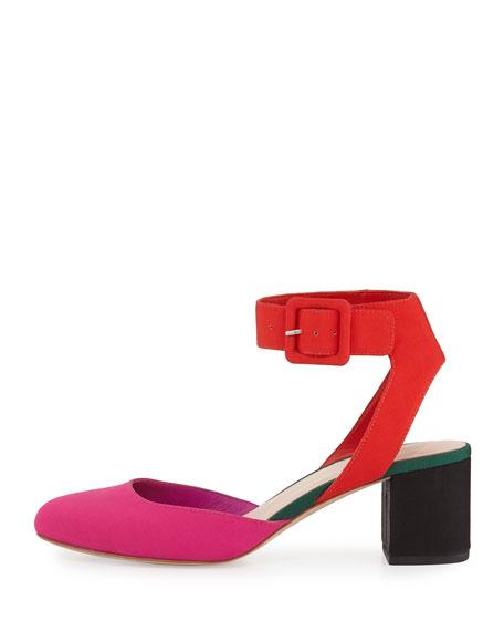 Cami Colorblock Ankle-Wrap Pump, Pink Pattern