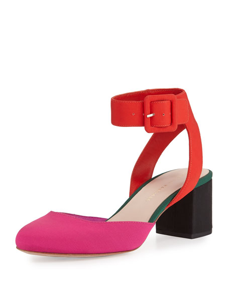 Cami Colorblock Ankle-Wrap Pump, Pink Pattern