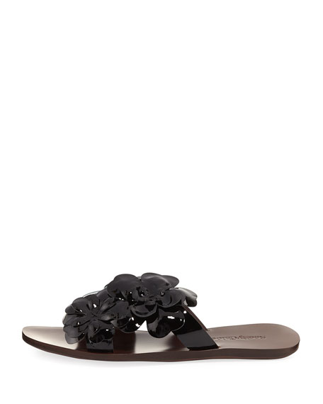 Hina Laser-Cut Flower Slide Sandal, Black Pattern