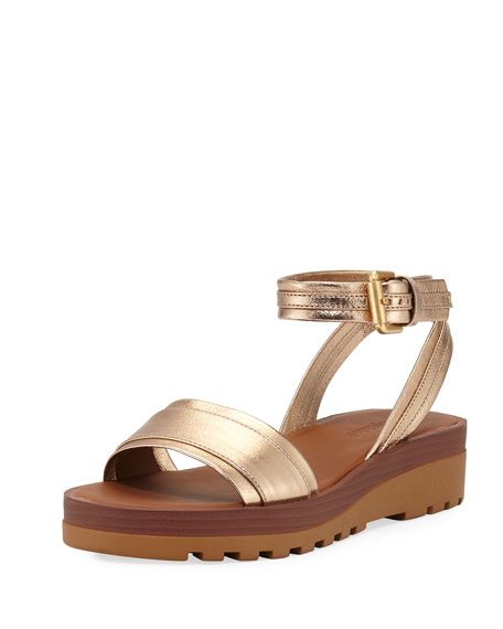 Robin Metallic Leather Flatform Sandal