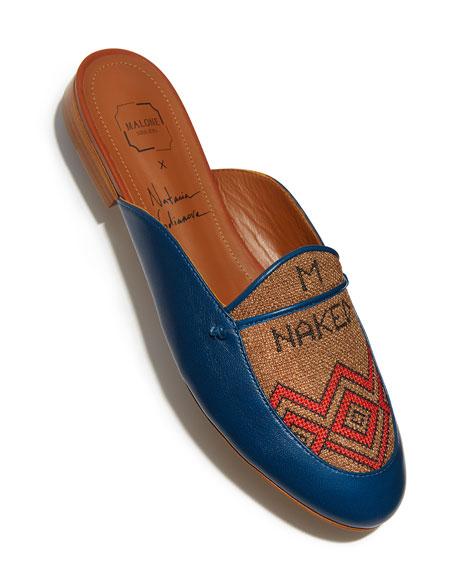 Neva Leather & Textile Flat Mule, Blue