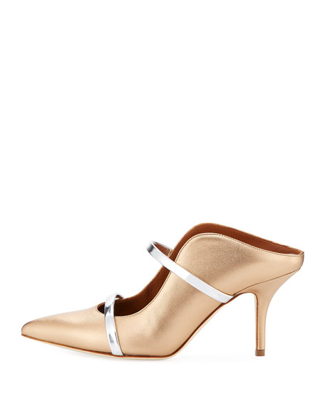 Maureen Satin Two-Strap Mule Pump, Gold