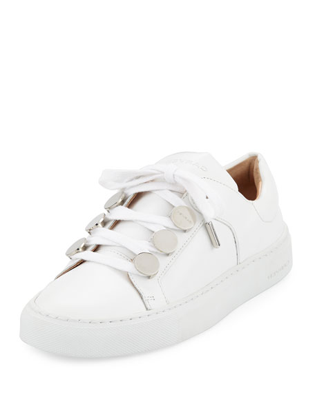 Carven Leather Studded Low-Top Sneakers, White