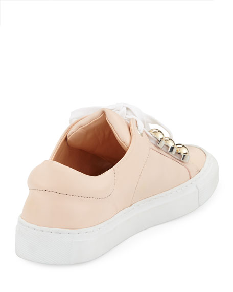 Leather Dome-Studded Low-Top Sneakers, Nude