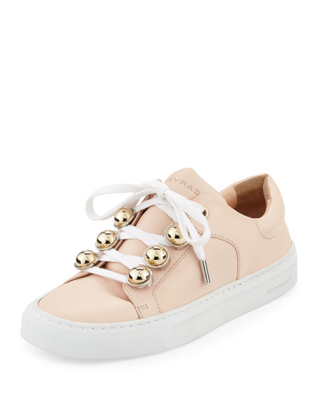 Carven Leather Dome-Studded Low-Top Sneakers, Nude