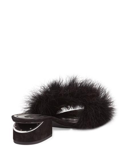 Lou Marabou Feather Sandal, Black