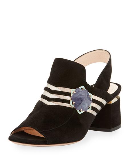 Nicholas Kirkwood Camille Suede Ornament Slingback Sandal, Black