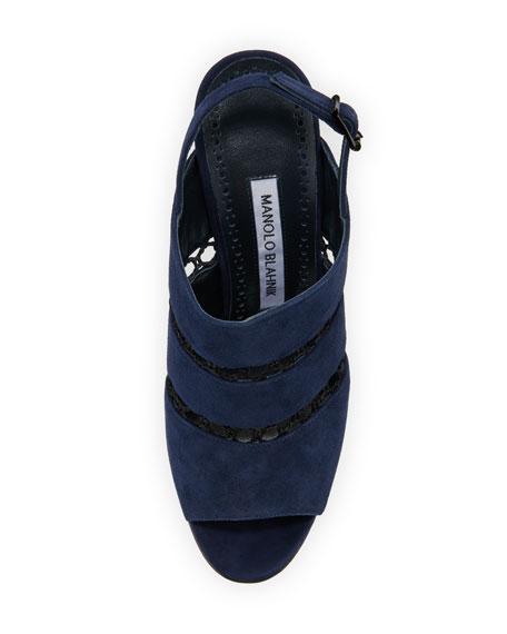 Aspendum Suede Net Mule Sandal, Navy