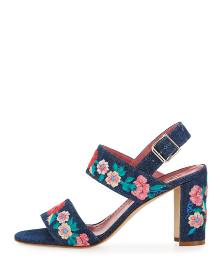 Khan Embroidered Block-Heel Sandal