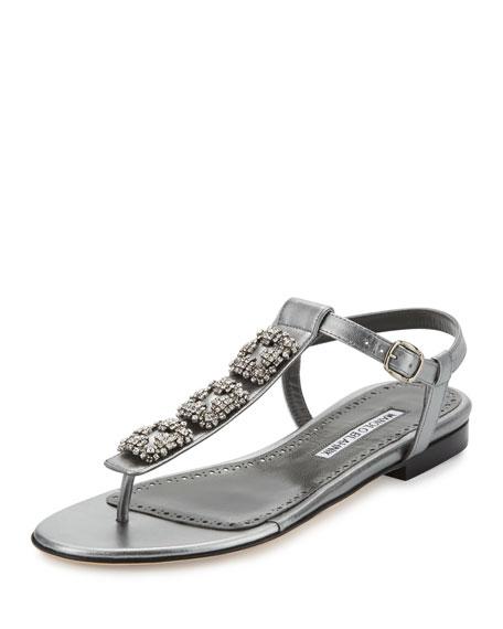 Ottolina Crystal T-Strap Sandal, Silver
