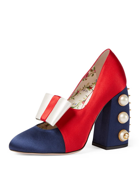 Gucci Luna Colorblock Bow 110mm Pump, Blue/Red/Ivory