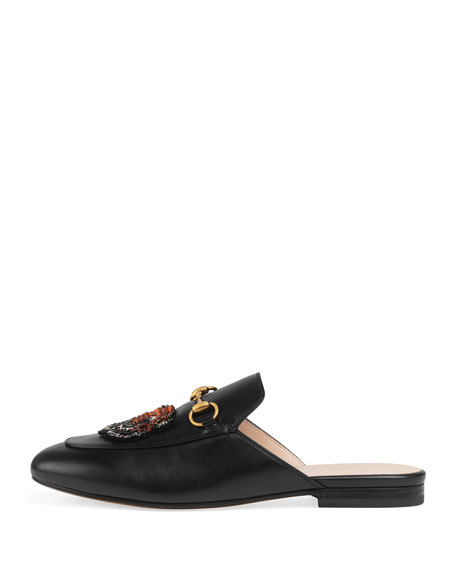 Princetown Sword & Tiger Horsebit Mule, Black