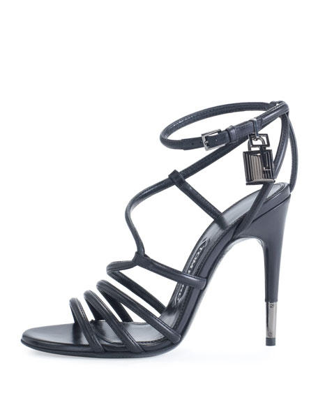Strappy Leather Ankle-Lock Sandal