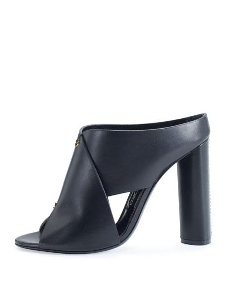 Studded Leather 105mm Mule Sandal, Black