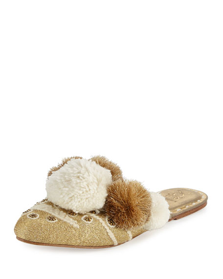 Figue Iris Pompom-Embellished Mule Slide, Gold