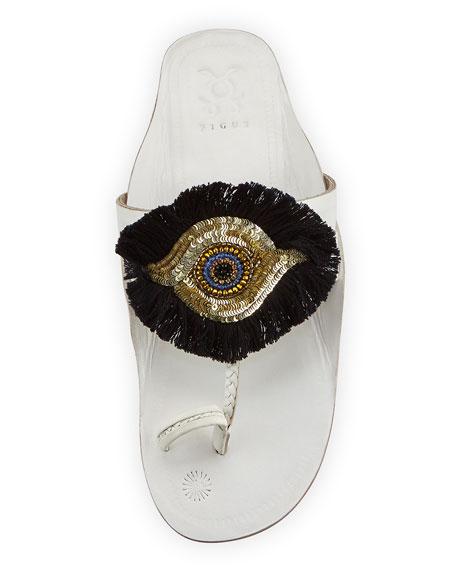 Evil Eye Medallion Flat Slide Sandal, White
