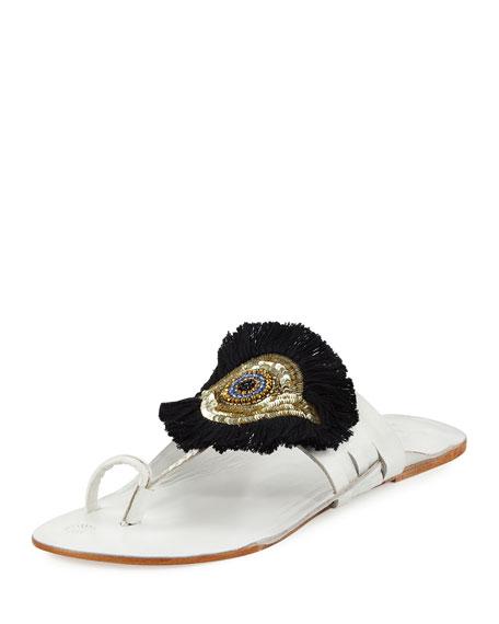 bbaa0d0c82b1 Figue Evil Eye Medallion Flat Slide Sandal