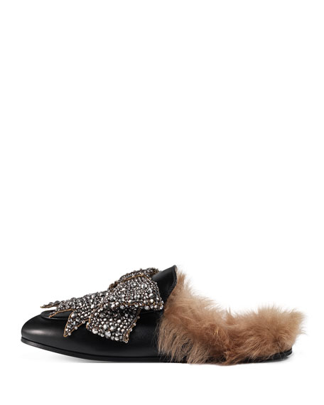 Princetown Bow Fur-Lined Mule, Black