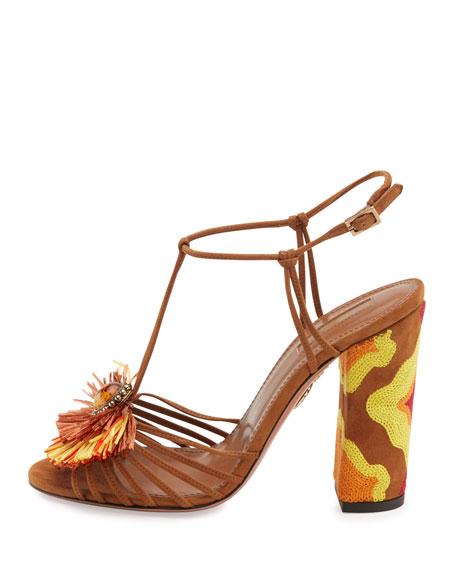 Samba Raffia T-Strap 105mm Sandal, Luggage